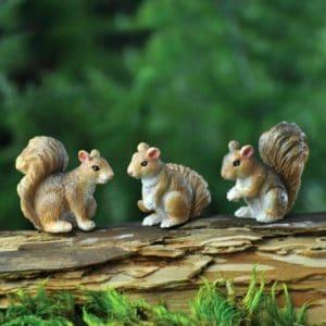 Figurines animaux lot de trois écureuils