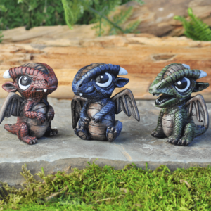 Figurines de bébés dragons bleu rouge vert
