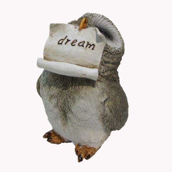 Figurine hibou avec parchemin dream