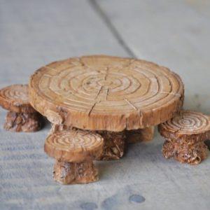 Table et tabourets accessoires miniatures pour jardin de fées