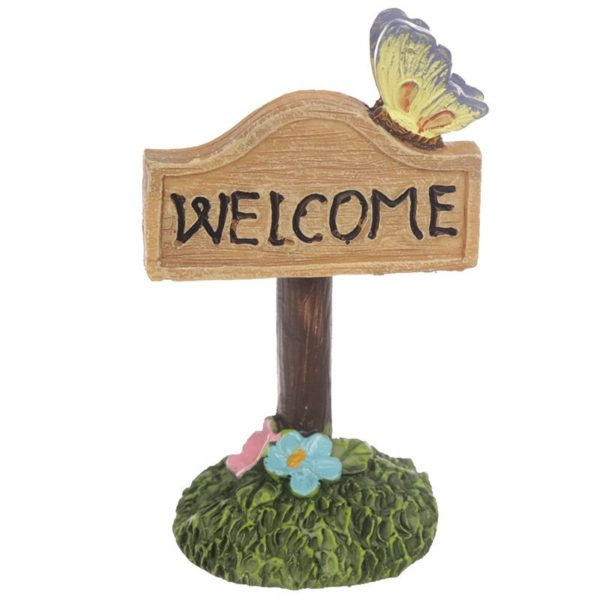 Mini accessoire de jardin de fées Panneau Welcome