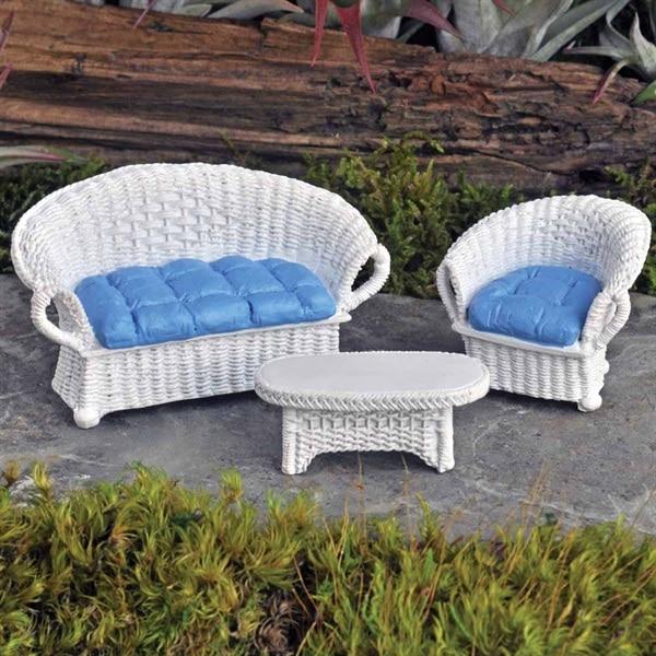 Mini Salon de Jardin imitation rotin | Jardin Miniature | Fairy Garden