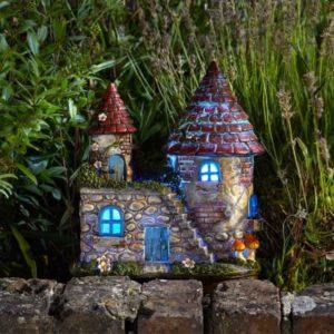 Maison de fées château elfique décoration jardin de fées