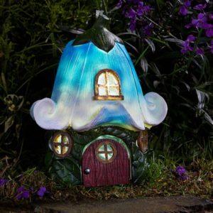 Maison de fée solaire jacinthe des bois pour jardin féerique