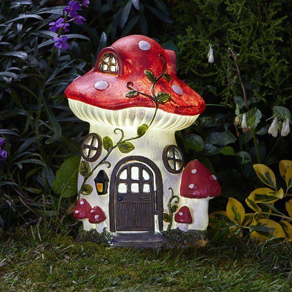 Maison de fées champignon éclairage solaire multi-couleur