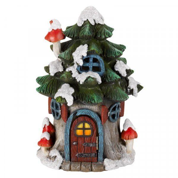 Sapin de noël maison miniature lumineuse