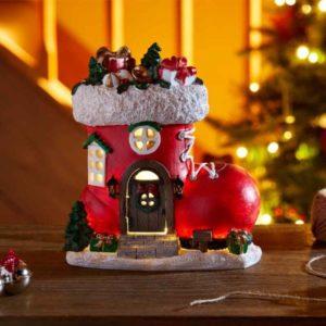 Botte de noël petite maison lumineuse LED