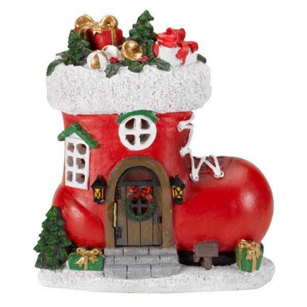 Maison lumineuse botte de noël décoration