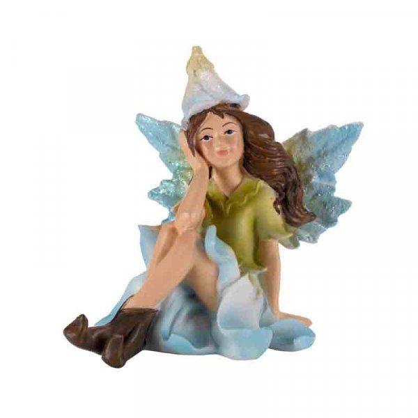 Figurine fée bleue nymphe des fleurs