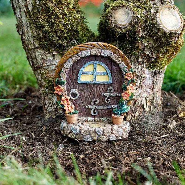 Porte d'elfe et de fées marron décoration jardin de fées
