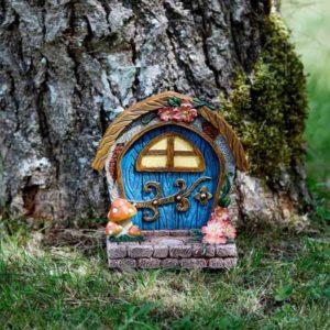 Porte d'elfe et de fées bleue décoration jardin de fées